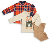 Nannette Baby Boys Bear Graphic Tee Quilted Sportshirt and Corudory Pants Set