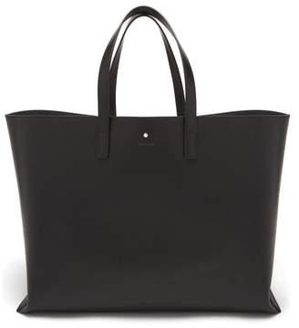 Logo Debossed Leather Tote Bag - Mens - Black
