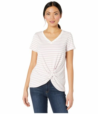 Tribal Women's Short Sleeve Stripe Top Knot Pring Stretch Vneck