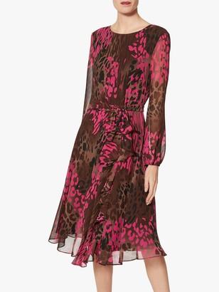 Gina Bacconi Oksana Chiffon Animal Print Midi Dress, Fuchsia