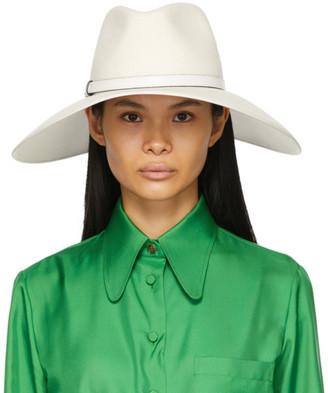 Gucci White Felt Wide Brim Horsebit Panama Hat