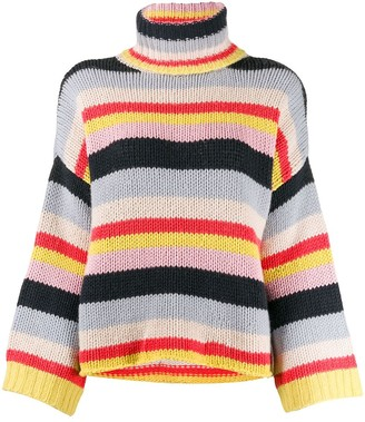Fine Edge Striped Turtleneck Jumper