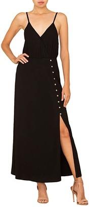 Miss Me Front Slit Maxi Dress (Black) Women's Clothing