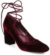Stuart Weitzman Cordon Velvet Lace-Up Block-Heel Pumps