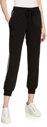 Black Tape Contrast Piping Jogger Pants