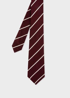 Paul Smith Men's Burgundy And White Thin Diagonal Stripe Silk Tie