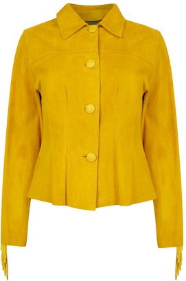 Zut London Hand Beaded & Fringed Suede Leather Fitted Jacket - Yellow