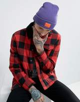 Asos Patch Beanie In Bright Purple With Orange Patch