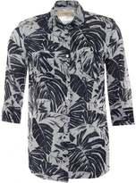 Max Mara Weekend Womens Spider Shirt, Blue White Leaf Print Shirt