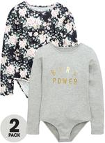 Very Girls Floral and Slogan Bodysuits (2 Pack)