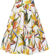 Karen Millen Bird-print Cotton Skirt - White/multi