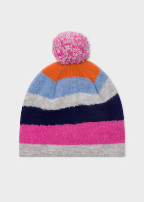 Paul Smith Women's Wool 'Mountain Stripe' Bobble Hat