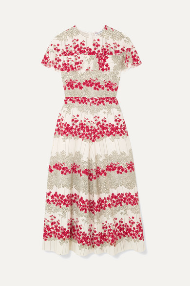 RED Valentino Ruffled Floral-print Crepe De Chine Midi Dress - Cream