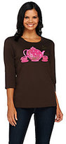 As Is Quacker Factory Be Jeweled Novelty 3/4 Sleeve T-shirt