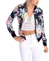 Shantan Long Sleeve Zip Up Floral Print Casual Bomber Jacket