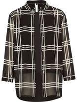 River Island Girls black check layered shirt