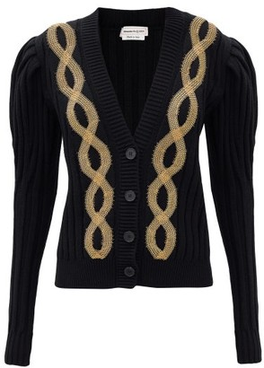 Alexander McQueen Chain-embroidered Ribbed-knit Wool-blend Cardigan - Black