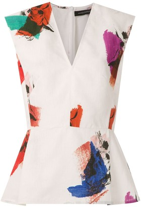 Andrea Marques Abstract Print Pleated Blouse