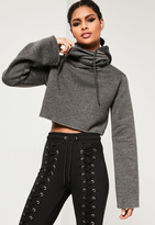Missguided Grey Cropped Extreme Sleeve Hoodie