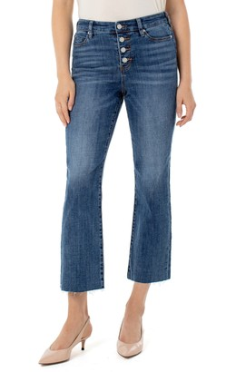 Liverpool Stevie High Waist Button Fly Raw Hem Stovepipe Jeans