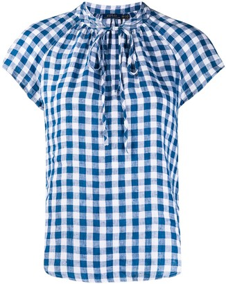 Polo Ralph Lauren Gingham Check Patterned Curved Hem Blouse