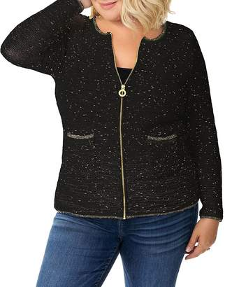 Belldini Plus Metallic Zip Cardigan