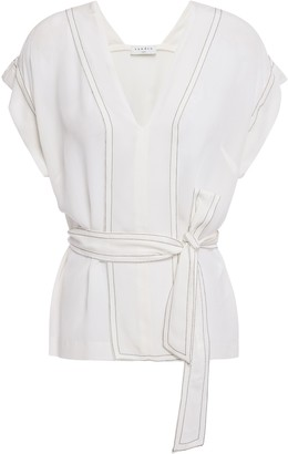 Sandro Charline Tie-front Washed-silk Blouse