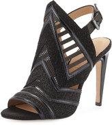 L.A.M.B. Hadley Cutout Leather Sandal, Black