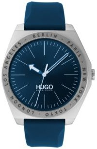 HUGO Silicone-strap watch with engraved bezel