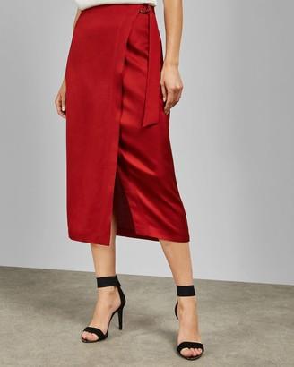 Ted Baker Split Hem Midi Wrap Skirt