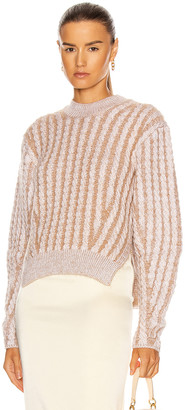 Chloé Fluffy Cable Knit Sweater in Sandy Beige   FWRD