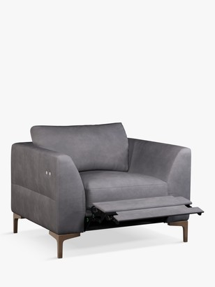 John Lewis & Partners Belgrave Motion Leather Armchair with Footrest Mechanism, Dark Leg