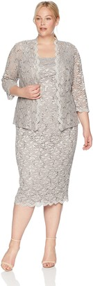 Alex Evenings Women's Plus Size Two-Piece Set with Dress and Jacket