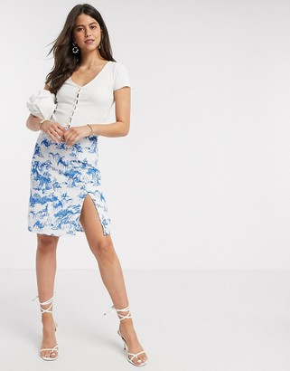 Y.A.S midi slip skirt in porcelain print
