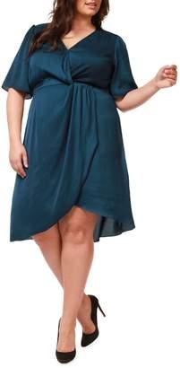Dex Plus Knotted Asymmetrical Faux Wrap Dress
