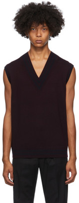 Dries Van Noten Burgundy V-Neck Vest