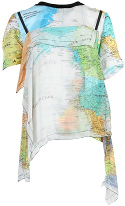 Sacai Multicolored World Map Print Blouse