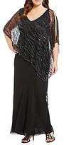 J Kara Plus V-Neck Beaded Capelet Gown