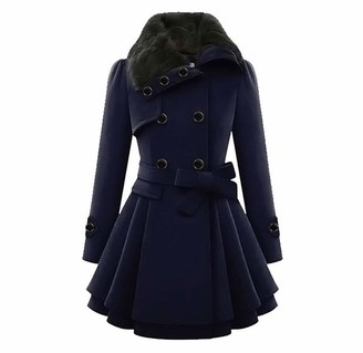 Quintra Women Winter Women Coats QUINTRA Double-Breasted Padded Mid-Length Faux Fur Wool Coat Parka Quilted Coat Long Full Sleeves Cape Cardigan Belted Jacket Trench Coat Dark Blue