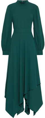 Mikael Aghal Asymmetric Crepe Midi Dress