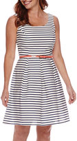 Tiana B Sleeveless Striped Fit and Flare Dress - Petite