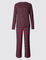 M&s Collection Brushed Cotton Stay Soft Checked Pyjama Set