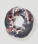 LOFT Floral Mosaic Tasseled Infinity Scarf
