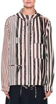 Marni Striped Check-Print Zip-Front Hooded Taffeta Jacket