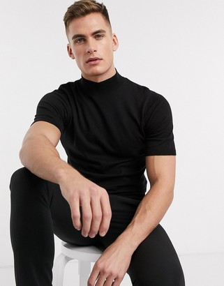 ASOS DESIGN knitted turtle neck t-shirt in black