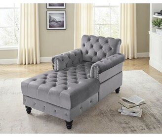 House of Hampton Padang Marlay Chaise Lounge Fabric: Gray