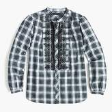 J.Crew Petite embellished button-up shirt in forest tartan