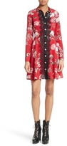 The Kooples Women's Floral Print Silk Fit & Flare Dress