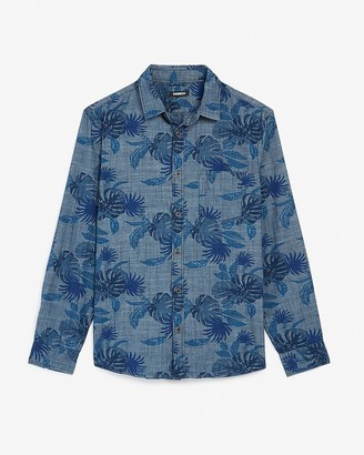 Express Classic Palm Print Chambray Shirt