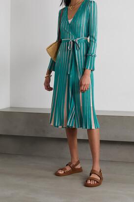 Diane von Furstenberg - Edeline Striped Knitted Wrap Dress - Blue